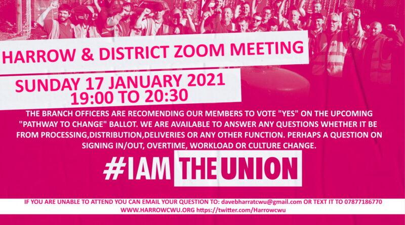 Harrow & District ZOOM MEETING